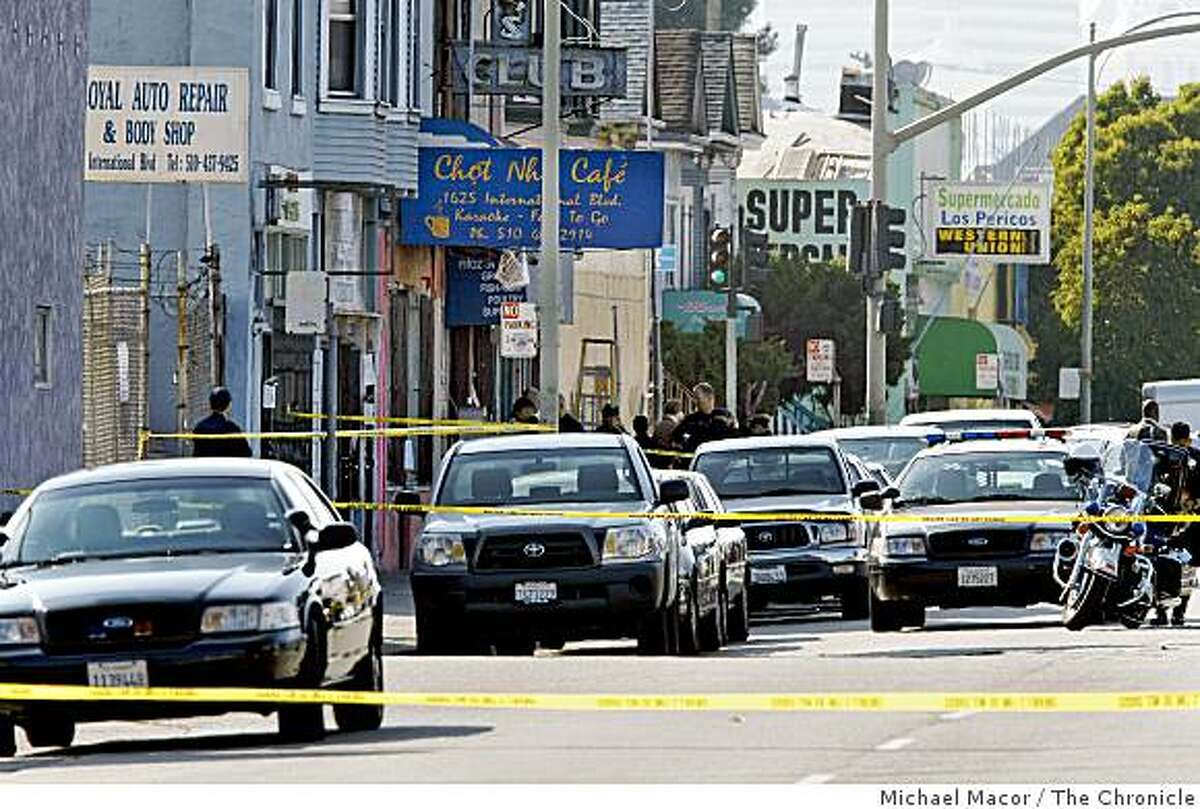 Oakland police on the scene of an officer-involved shooting that left one suspect dead along International Blvd. between 16th and 17th avenues on Wednesday.