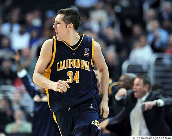 California's Ryan Anderson runs up the court after scoring a 3-point basket against Washington during the second half of a basketball game in the Pac-10 men's basketball tournament in Los Angeles on Wednesday, March 12, 2008. California won 84-81. (AP Photo/Kevork Djansezian) Photo: Kevork Djansezian