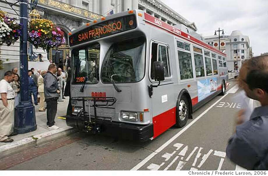###Live Caption:###Caption History:The San Francisco Municipal Transportation Agency rolled out the first of 56 hybrid buses from Daimler Chrysler at a press conference at SF City Hall, which S.F fleet eventually will give the city the third-largest hybrid bus fleet in the United States.  6/1/06  {Frederic Larson/The Chronicle}###Notes:###Special Instructions:MANDATORY CREDIT FOR PHOTOGRAPHER AND SAN FRANCISCO CHRONICLE/NO SALES-MAGS OUT Photo: Frederic Larson
