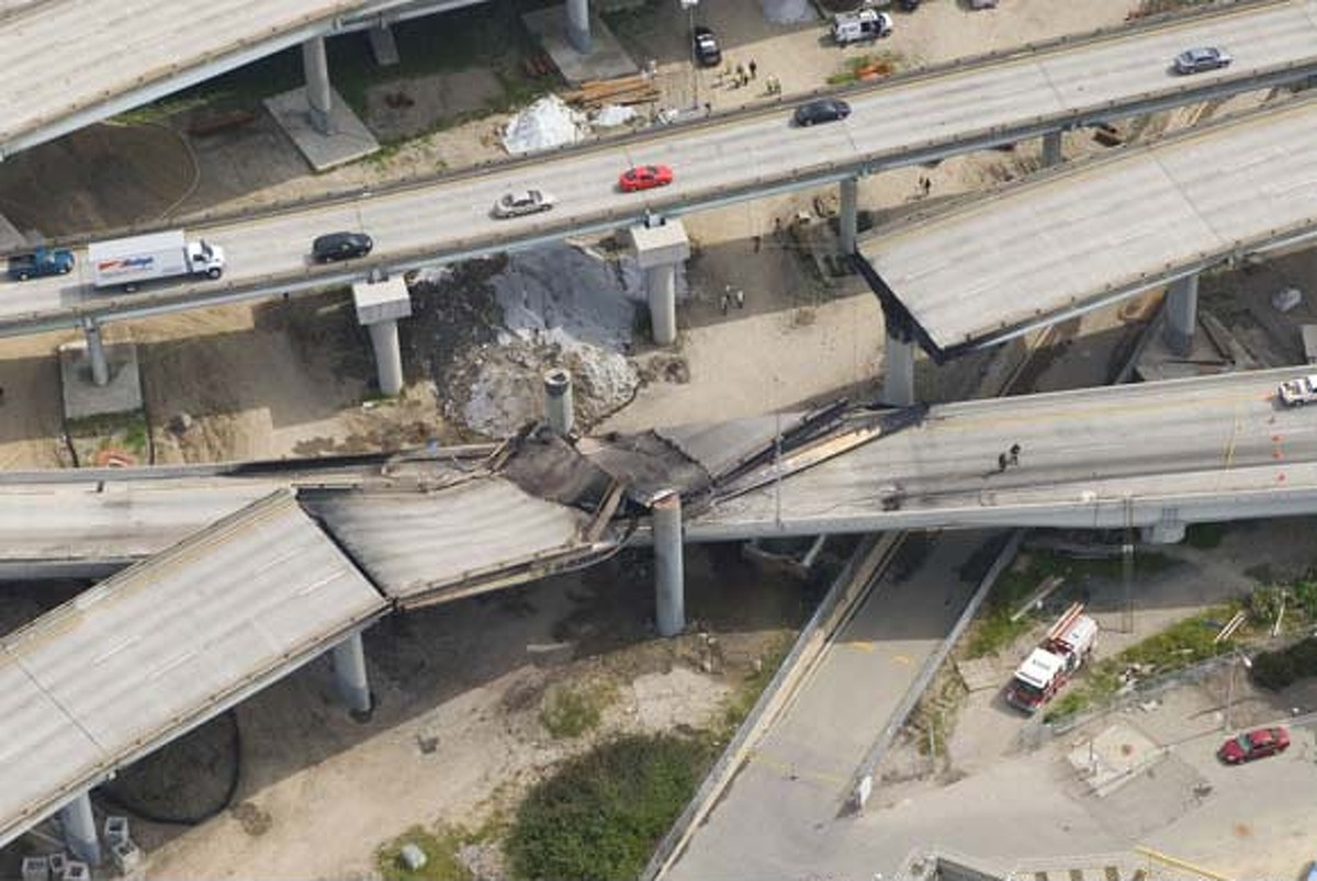 An early morning, single-vehicle crash of a gas tanker led to a major headache when the resulting fire virtually melted parts of the highway overpass and caused it to collapse onto the roadway. The closure was estimated to affect 80,000 commute trips, according to estimates at the time, as BART and Caltrans looked for ways to deal with the high demand. The maze reopened after construction crews were able to complete the work within 26 days.