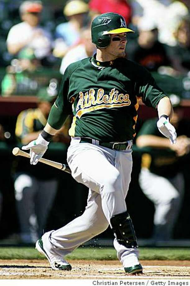 SCOTTSDALE, AZ - MARCH 01:   Daric Barton #10 of the Oakland Athletics bats against the San Francisco Giants during a spring training game at Scottsdale Stadium March 1, 2008 in Scottsdale, Arizona.  (Photo by Christian Petersen/Getty Images) Photo: Christian Petersen, Getty Images
