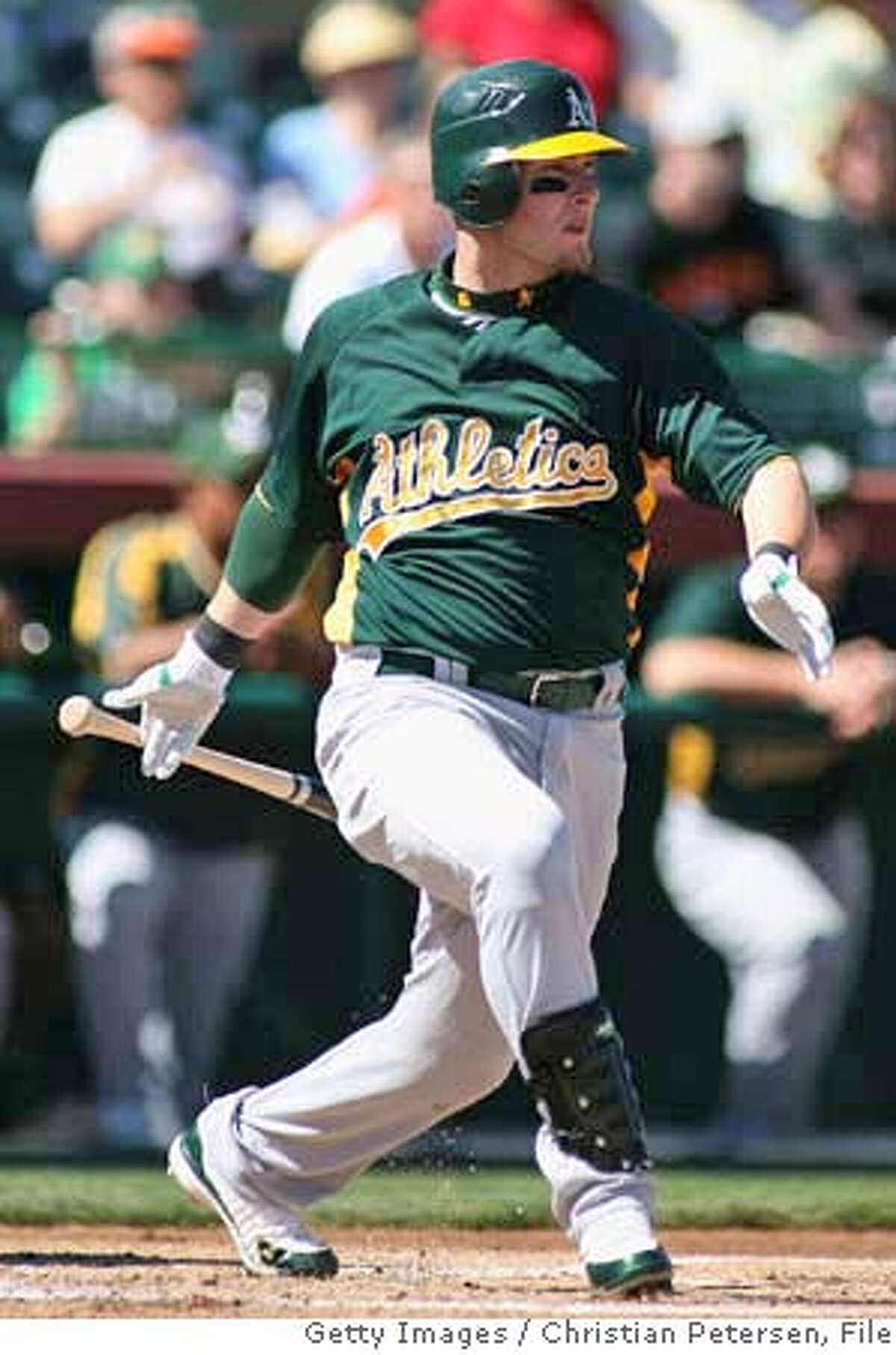 ###Live Caption:SCOTTSDALE, AZ - MARCH 01: Daric Barton #10 of the Oakland Athletics bats against the San Francisco Giants during a spring training game at Scottsdale Stadium March 1, 2008 in Scottsdale, Arizona. (Photo by Christian Petersen/Getty Images)###Caption History:SCOTTSDALE, AZ - MARCH 01: Daric Barton #10 of the Oakland Athletics bats against the San Francisco Giants during a spring training game at Scottsdale Stadium March 1, 2008 in Scottsdale, Arizona. (Photo by Christian Petersen/Getty Images)###Notes:Oakland A's v San Francisco Giants###Special Instructions: