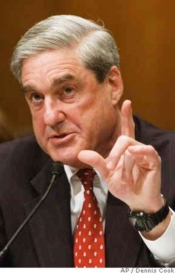 ###Live Caption:FBI Director Robert Mueller testifies on Capitol Hill in Washington, Wednesday, March 5, 2008, before the Senate Judiciary Committee hearing on the FBI. (AP Photo/Dennis Cook)###Caption History:FBI Director Robert Mueller testifies on Capitol Hill in Washington, Wednesday, March 5, 2008, before the Senate Judiciary Committee hearing on the FBI. (AP Photo/Dennis Cook)###Notes:Robert Mueller###Special Instructions: Photo: Dennis Cook