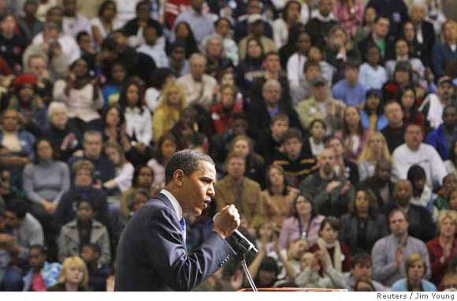 ###Live Caption:US Democratic presidential candidate Senator Barack Obama (D-IL) speaks at a town hall meeting at Westerville Central High School in Westerville, Ohio, March 2, 2008. REUTERS/Jim Young (UNITED STATES) US PRESIDENTIAL ELECTION CAMPAIGN 2008 (USA)###Caption History:US Democratic presidential candidate Senator Barack Obama (D-IL) speaks at a town hall meeting at Westerville Central High School in Westerville, Ohio, March 2, 2008. REUTERS/Jim Young (UNITED STATES) US PRESIDENTIAL ELECTION CAMPAIGN 2008 (USA)###Notes:US Democratic presidential candidate Senator Barack Obama (D-IL) speaks at a town hall meeting at Westerville Central High School in Westerville, Ohio###Special Instructions:0 Photo: JIM YOUNG