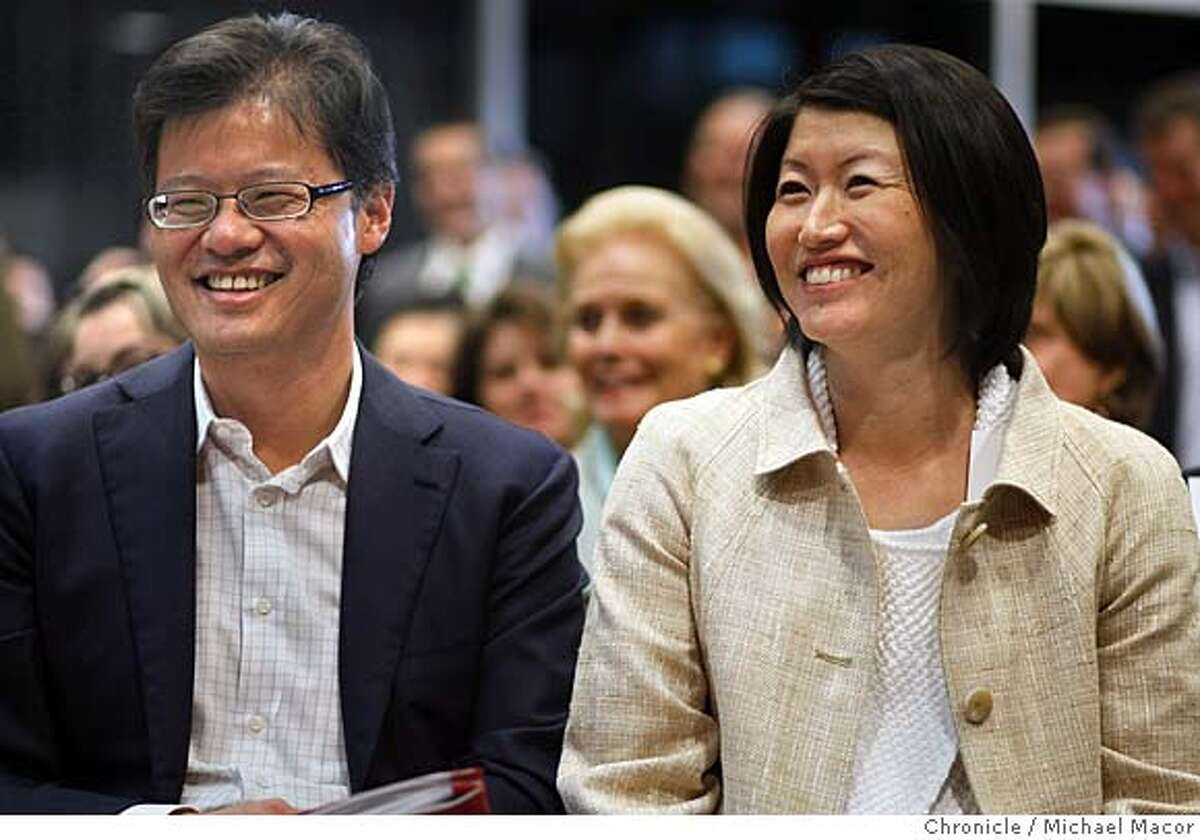 Yahoo CEO, Jerry Yang and his wife Akiko Yamazaki attend the dedication ceremony for the Jerry Yang and Akiko Yamazaki Environment and Energy building at Stanford University on Mar. 4, 2008. Photo by Michael Macor/ San Francisco Chronicle Ran on: 03-14-2008 Yahoo CEO Jerry Yang and his wife, Akiko Yamazaki, attend the dedication of an environmental studies building at Stanford University this month. They pledged $75 million to the school.
