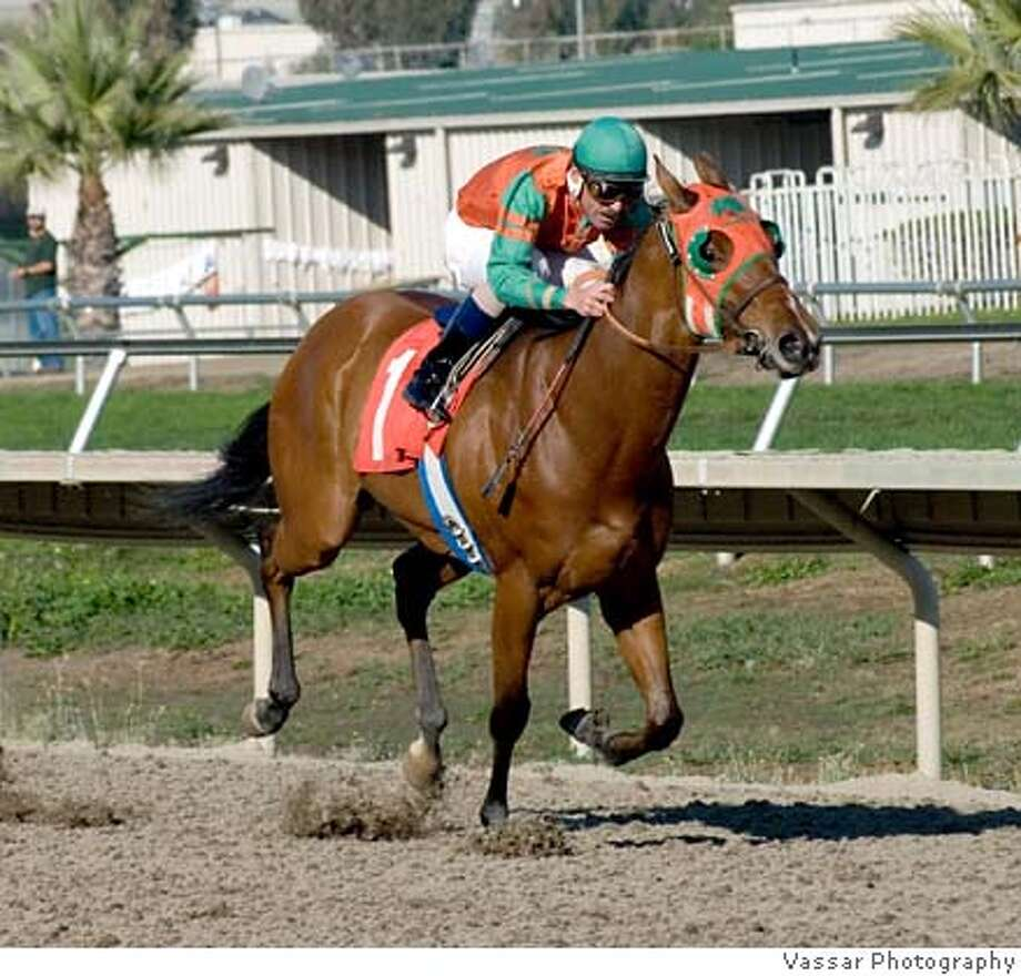 ###Live Caption:Tribseman ridden by jockey Chad Schvaneveldt races to a win at Bay Meadows Race Track in San Mateo, Calif. on Sunday, Nov. 4, 2007.  Photo by Vassar Photography / Special to the Chronicle###Caption History:Tribseman ridden by jockey Chad Schvaneveldt races to a win at Bay Meadows Race Track in San Mateo, Calif. on Sunday, Nov. 4, 2007.  Photo by Vassar Photography / Special to the Chronicle###Notes:notes, cq's, etc###Special Instructions:MANDATORY CREDIT FOR PHOTOG AND SAN FRANCISCO CHRONICLE  NO SALES...MAGS OUT...TV OUT Photo: Vassar Photography