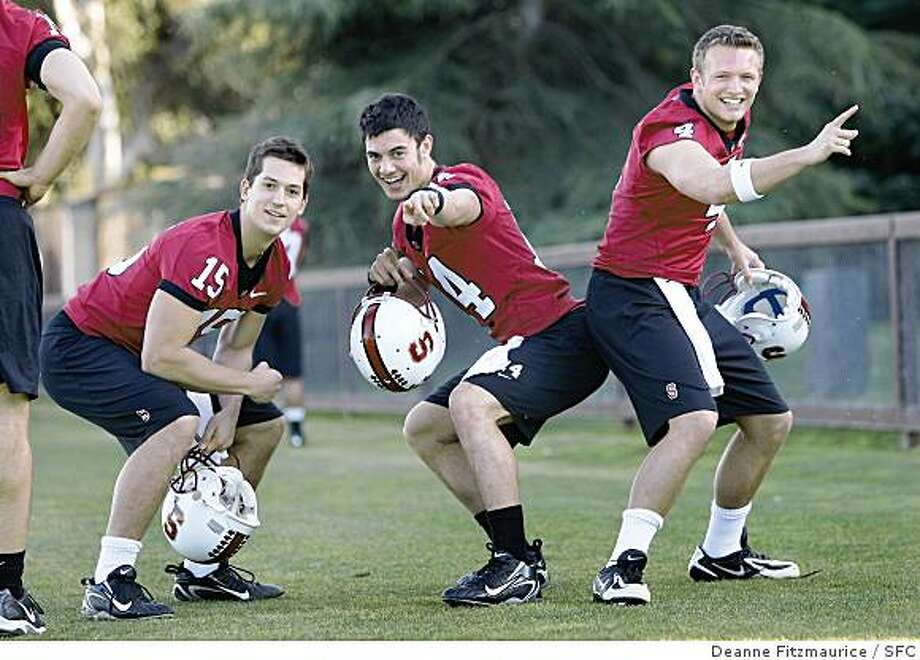 Three quarterbacks, (l to r) Alex Loukas, Tavita Pritchard and Jason Forcier  are competing for the Stanford football starting job. They are working out during a spring football practice on February 27, 2008 in Stanford, Calif. Photo by Deanne Fitzmaurice / San Francisco Chronicle Photo: Deanne Fitzmaurice, SFC