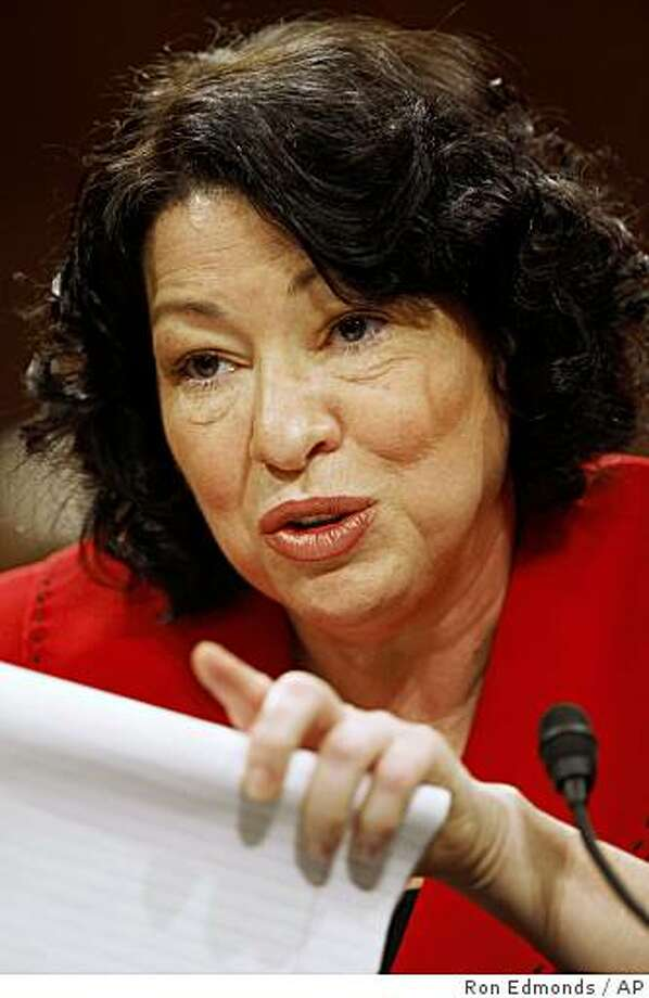 Supreme Court nominee Sonia Sotomayor testifies on Capitol Hill in Washington, Tuesday, July 14, 2009, before the Senate Judiciary Committee.  (AP Photo/Ron Edmonds) Photo: Ron Edmonds, AP