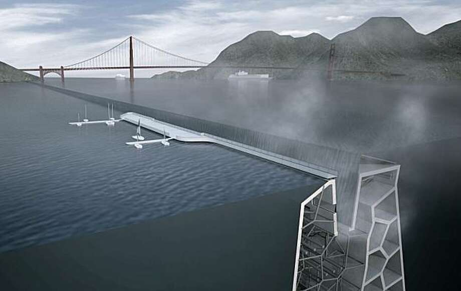 "This rendition by Kuth Ranieri Architects shows what the designers call a ""ventilated levee."" The system would maintain water levels for existing shorelines through a series of pumps located along the full height of the levee. The firm says the pumps would in turn be powered by tidal turbines or geo-thermal energy plants.   Rising tides will inevitably change the landscape of the San Francisco Bay and its developments. The Bay Conservation and Development Commission challenged designers to come up with creative ways to prepare for the impacts of climate change. Photo: Kuth Ranieri Architects"