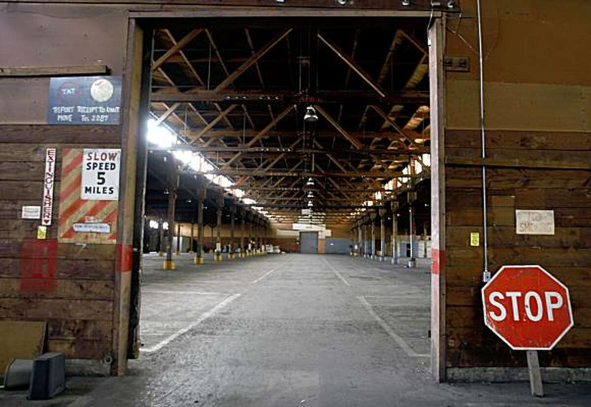 An abandoned warehouse on the former Oakland Army Base is seen in Oakland, Calif., on Friday, July 10, 2009. The 233,000 square-foot structure is one of several buildings slated for redevelopment on a parcel of land known as the East Gateway near the port of Oakland.