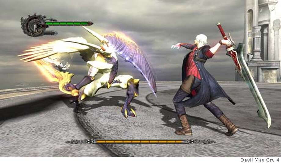 "###Live Caption:Screenshot from Devil May Cry 4. Nero using his ""Red Queen"" sword, with throttle attached to the hilt.###Caption History:Screenshot from Devil May Cry 4. Nero using his ""Red Queen"" sword, with throttle attached to the hilt.###Notes:###Special Instructions: Photo: Capcom"