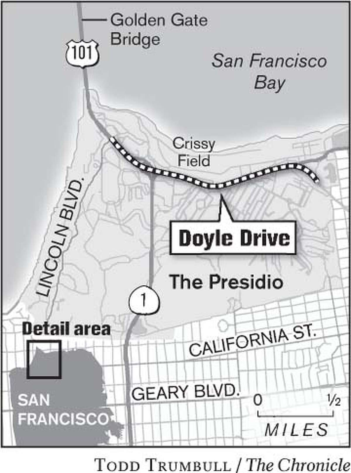 Doyle Drive. Chronicle graphic by Todd Trumbull