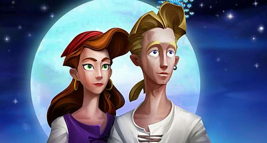 In the Special Edition of Secret of Monkey Island, Lucasarts revised the 19 year old classic adventure game with new hand-painted backgrounds in high definition quality, recorded dialogue and re-master soundtrack.  A screenshot from the Secret of Monkey Island: Special Edition. The scene depicts would-be pirate Guybrush Threepwood enjoying the moonlight with his love interest, governor Elaine Marley. Photo: Lucasarts