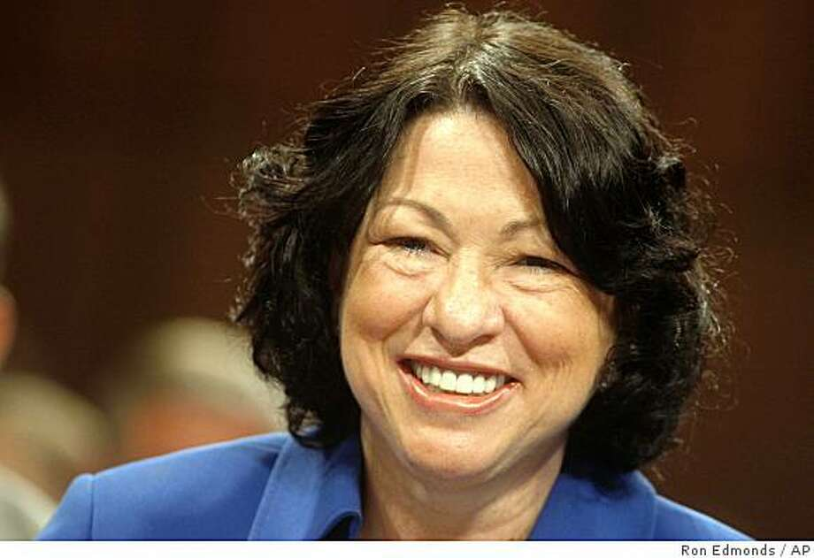 Supreme Court nominee Judge Sonia Sotomayor smiles on Capitol Hill in Washington, Monday, July 13, 2009, prior to testifying before the Senate Judiciary Committee hearing on her nomination.  (AP Photo/Ron Edmonds) Photo: Ron Edmonds, AP