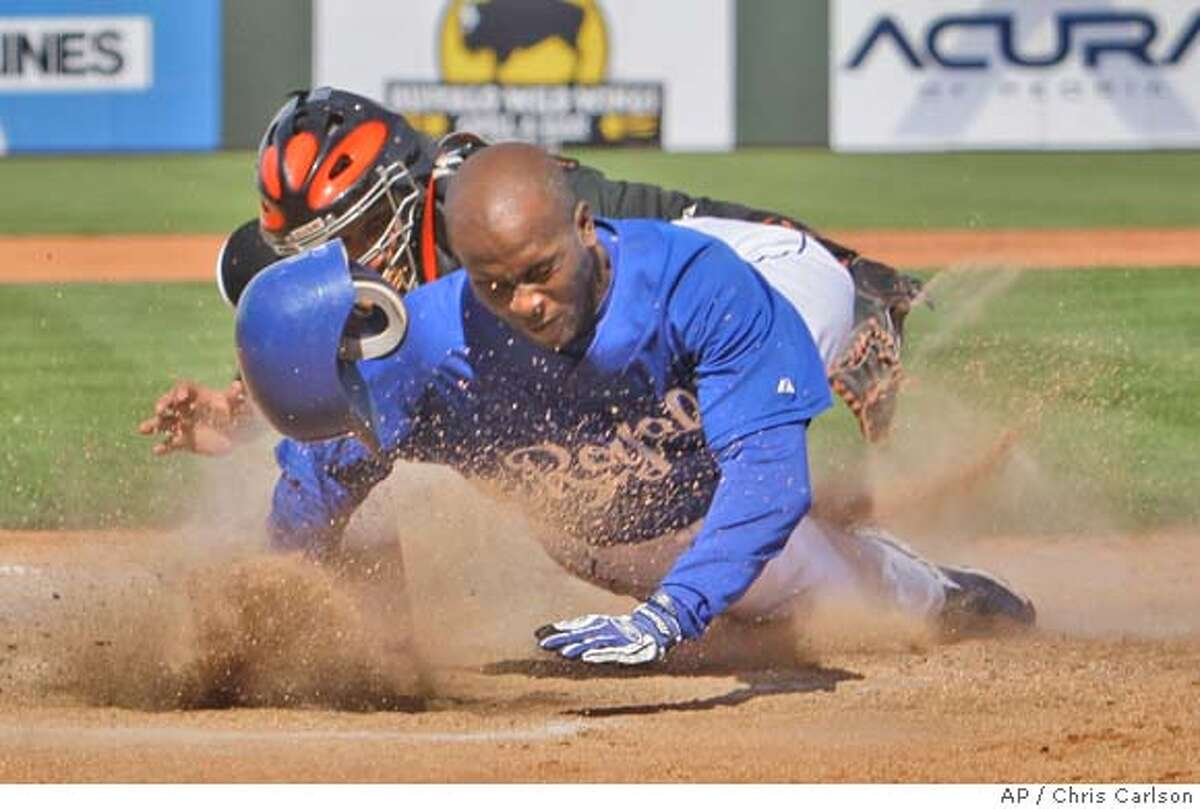 Kansas City Royals' Joey Gathright is tagged out at home by San Francisco Giants catcher Bengie Molina after trying to score on a hit by Mark Grudzielanek in the fourth inning during a spring training baseball game in Surprise, Ariz., Monday, March 10, 2008. (AP Photo/Chris Carlson)