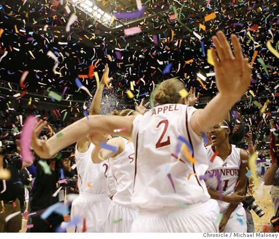 ###Live Caption:The Stanford team celebrates it's win over Cal. Stanford Cardinal's Jayne Appel (2) and Stanford Cardinal's Candice Wiggins is at right.  Stanford faces Cal in the Pac 10 women's basketball tournament finals at HP Pavilion in San Jose, Calif. on March 10, 2008. Photo by Michael Maloney / San Francisco Chronicle###Caption History:The Stanford team celebrates it's win over Cal. Stanford Cardinal's Jayne Appel (2) and Stanford Cardinal's Candice Wiggins is at right.  Stanford faces Cal in the Pac 10 women's basketball tournament finals at HP Pavilion in San Jose, Calif. on March 10, 2008. Photo by Michael Maloney / San Francisco Chronicle###Notes:***roster###Special Instructions:MANDATORY CREDIT FOR PHOTOG AND SAN FRANCISCO CHRONICLE/NO SALES-MAGS OUT Photo: Michael Maloney