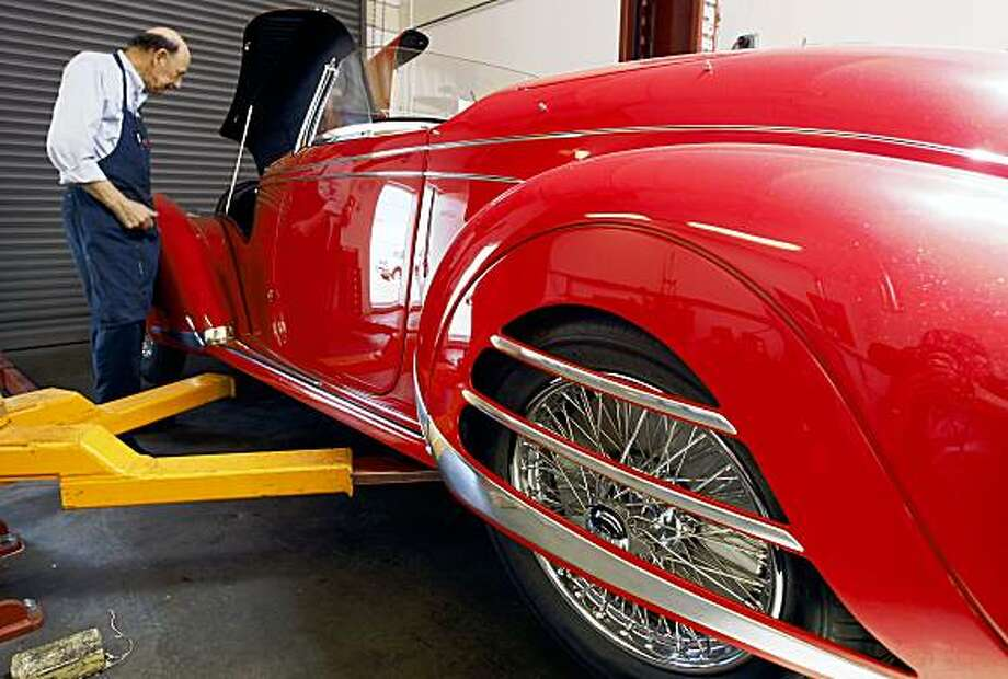 Dave McCarthy, who has been restoring cars for 39 years as an employee for Patrick Ottis, finished work on a 1938 Alfa Romeo 8c Superleggera on Wednesday July 15, 2009. Ottis' shop restores 1920s Alfa Romeos and 1950s Ferraris for car enthusiasts around the world from his Berkeley shop. Photo: Lance Iversen, The Chronicle