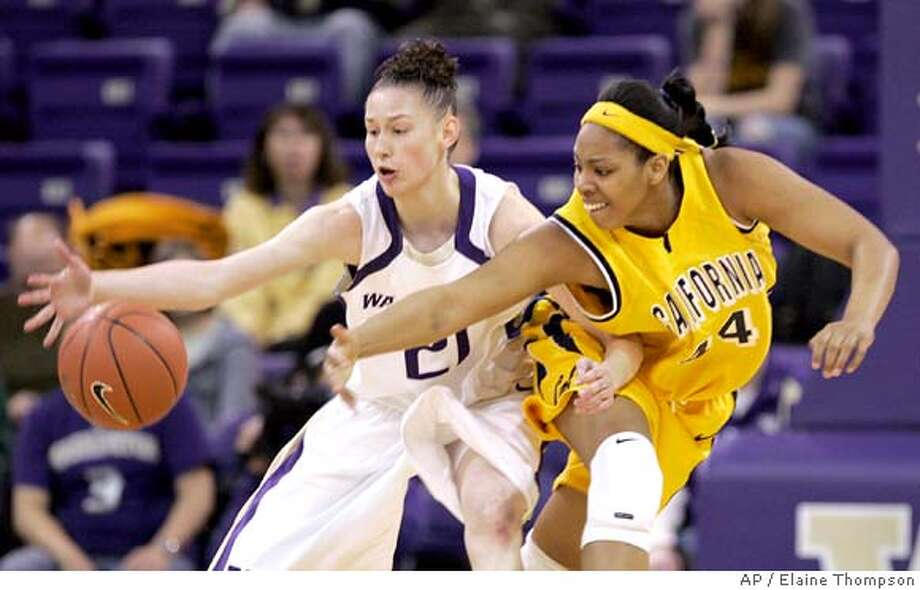 Washington's Katelan Redmon, left, steals the ball from California's Ashley Walker in the first half of a basketball game Sunday, March 2, 2008, in Seattle. (AP Photo/Elaine Thompson) Photo: Elaine Thompson
