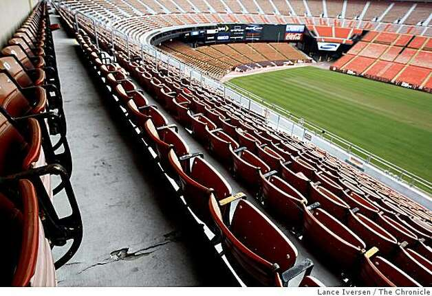 Candlestick Park is showing its age with crumbling cement walkways and rust-stained stadium seats on Tuesday July 7, 2009. Photo: Lance Iversen, The Chronicle