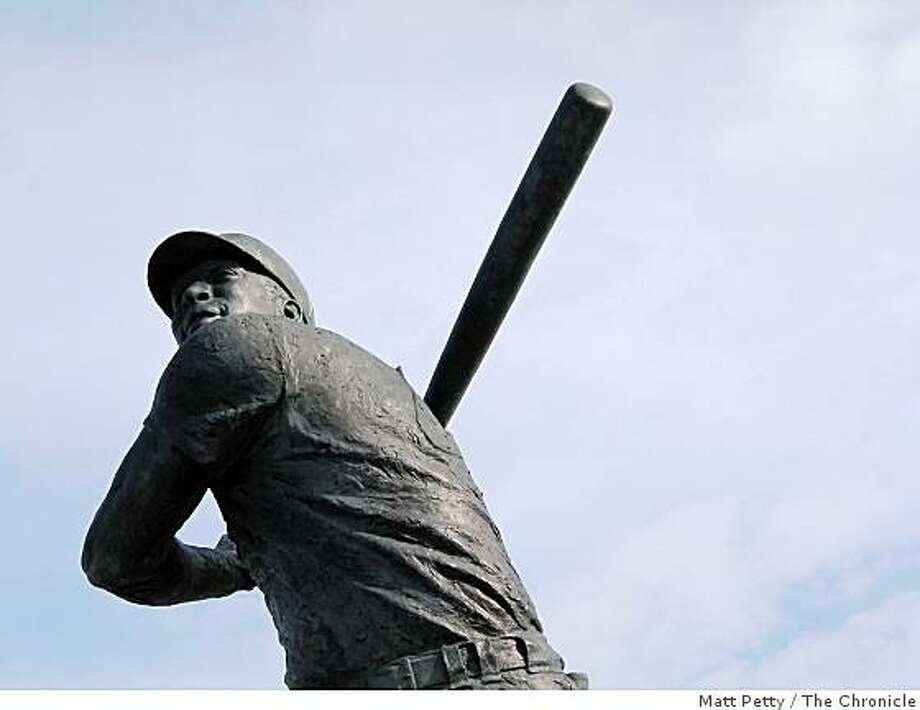 The statue of former Giant Willie McCovey at McCovey cove near AT&T Park in San Francisco. Photo: Matt Petty, The Chronicle