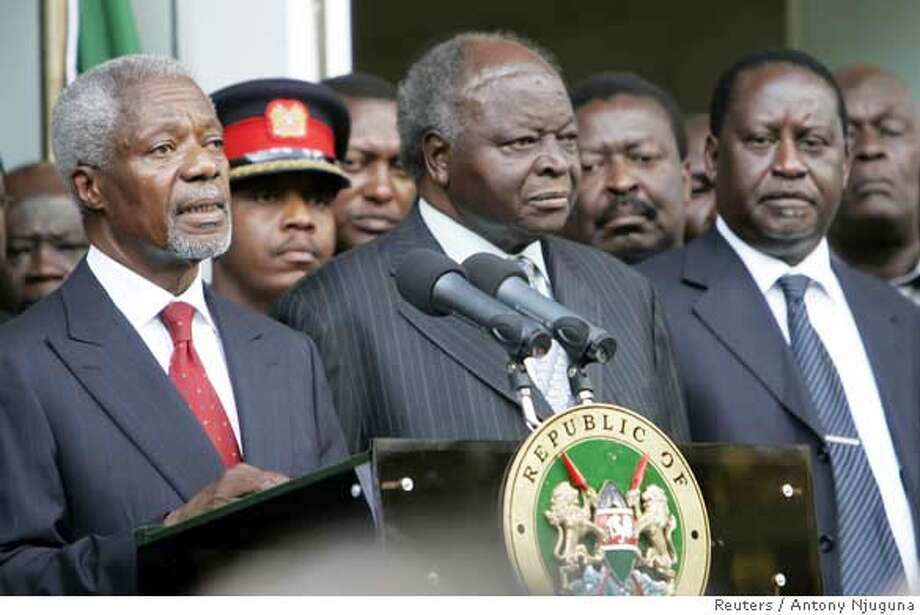 Chief mediator Kofi Annan (L) addresses the media after Kenya's President Mwai Kibaki (C) and opposition leader Raila Odinga (R) had signed an agreement in Nairobi, February 28, 2008. Kibaki and Odinga signed a power-sharing agreement intended to end a post-election crisis that left at least 1,000 people dead. REUTERS/Antony Njuguna (KENYA)  Ran on: 02-29-2008  Chief mediator Kofi Annan (left), Kenyan President Mwai Kibaki (center) and opposition leader Raila Odinga address the media. Photo: ANTONY NJUGUNA