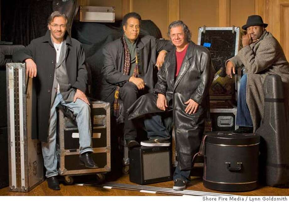 In this image released by Shore Fire Media, the band Return to Forever, from left, Al Di Meola, Stanley Clarke, Chick Corea and Lenny White are shown. The quartet announced, Wednesday, March 12, 2008, that they will return for more than 50 dates in the U.S., Canada, and Europe, kicking off the much-anticipated tour on May 29 in Austin, Texas and ending in New York on Aug. 7. (AP Photo/Shore Fire Media, Lynn Goldsmith) ** NO SALES ** Photo: Lynn Goldsmith