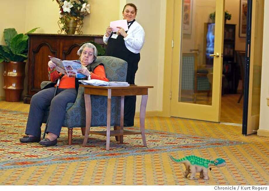 Pleo a robotic dinosaur gets a little reaction from people in the loby of The Lodge at Pulin Creek a senior's home in Santa Rosa on Thursday February 28, 2008  Photo By Kurt Rogers / San Francisco Chronicle Photo: Kurt Rogers