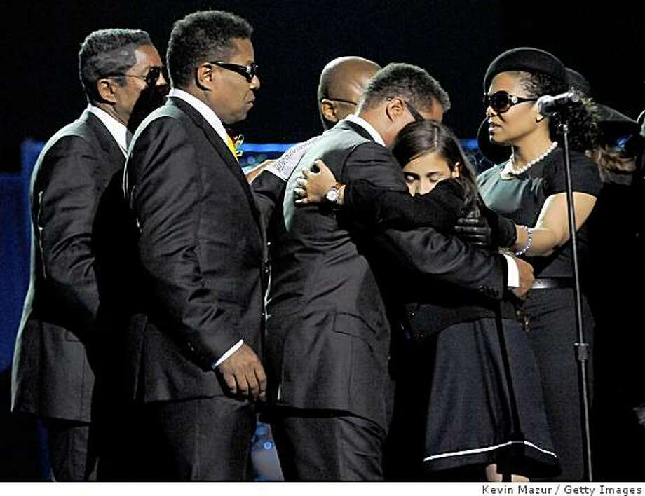 LOS ANGELES, CA - JULY 07:  In this handout provided by Harrison Funk and Kevin Mazur, Jermaine Jackson, Tito Jackson, Marlon Jackson, Paris Jackson and Janet Jackson attend Michael Jackson's Public Memorial Service held at Staples Center on July 7, 2009 in Los Angeles, California.  (Photo by Kevin Mazur/MJ Memorial via Getty Images) Photo: Kevin Mazur, Getty Images