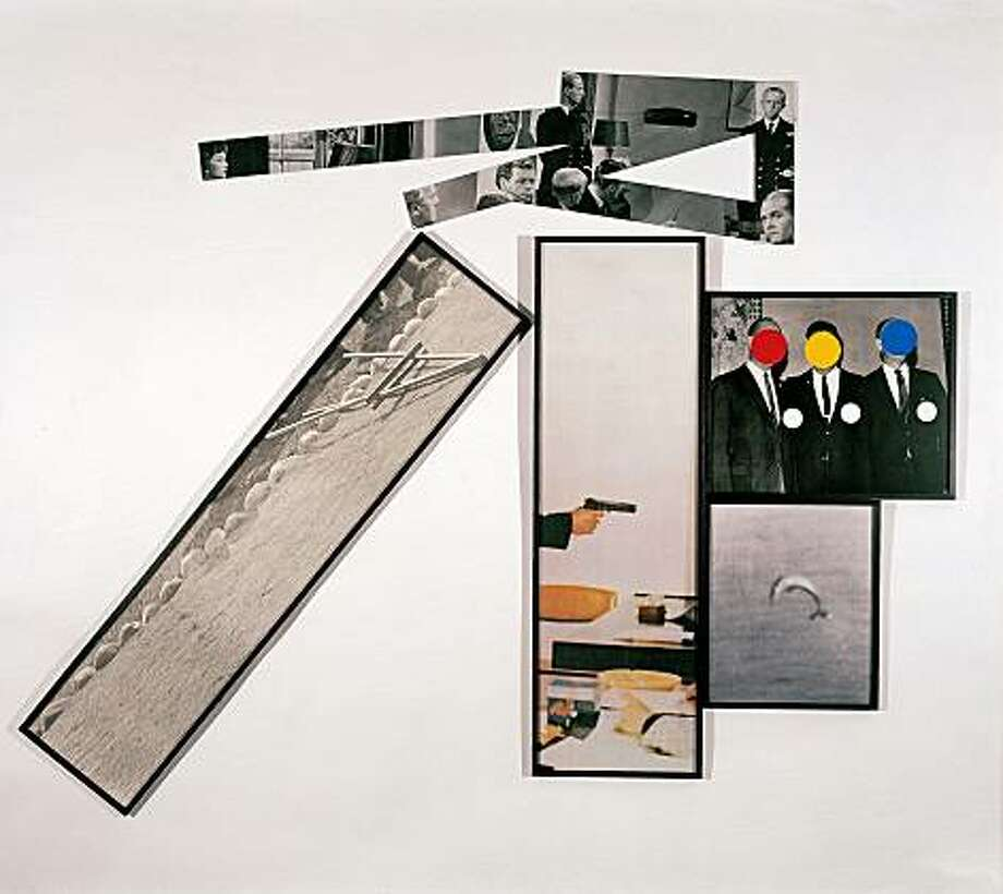 """The Fallen Easel"" (1987) color lithograph and screenprint in five parts printed on paper and aluminum plates by John Baldessari  Collection of Jordan D. Schnitzer FALLEN Photo: Courtesy, Collection Of Jordan Schnitzer"