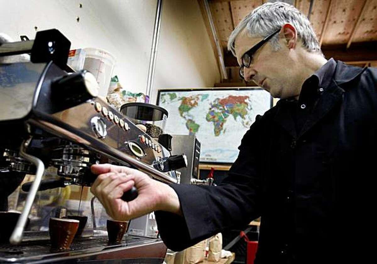 James Freeman makes an espresso at his Blue Bottle Coffee Co. roasting plant in Oakland, Calif., on Tuesday, June 30, 2009.