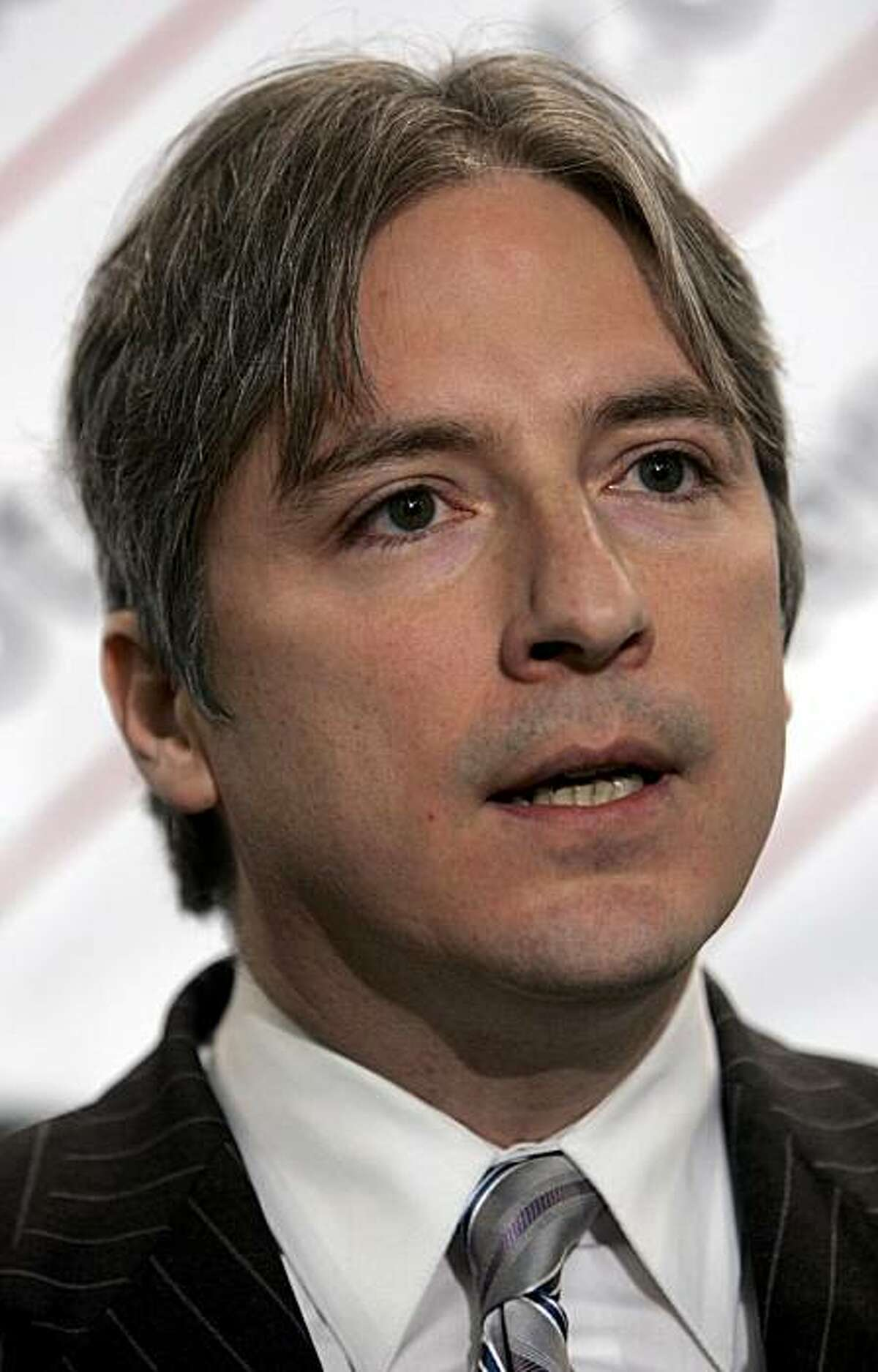 Matt Gonzalez, a former member of the San Francisco Board of Supervisors, speaks at the National Press Club in Washington, Thursday, Feb. 28, 2008, during a news conference where Independent presidential candidate Ralph Nader, not shown, announced Gonzalez as his running mate. (AP Photo/Lawrence Jackson)