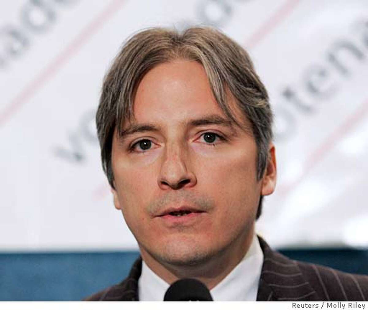 Matt Gonzalez, a former member of the San Francisco Board of Supervisors, speaks after Independent U.S. presidential candidate Ralph Nader selected Gonzalez to be his running mate at the National Press Club in Washington February 28, 2008. REUTERS/Molly Riley (UNITED STATES) US PRESIDENTIAL ELECTION CAMPAIGN 2008 (USA)