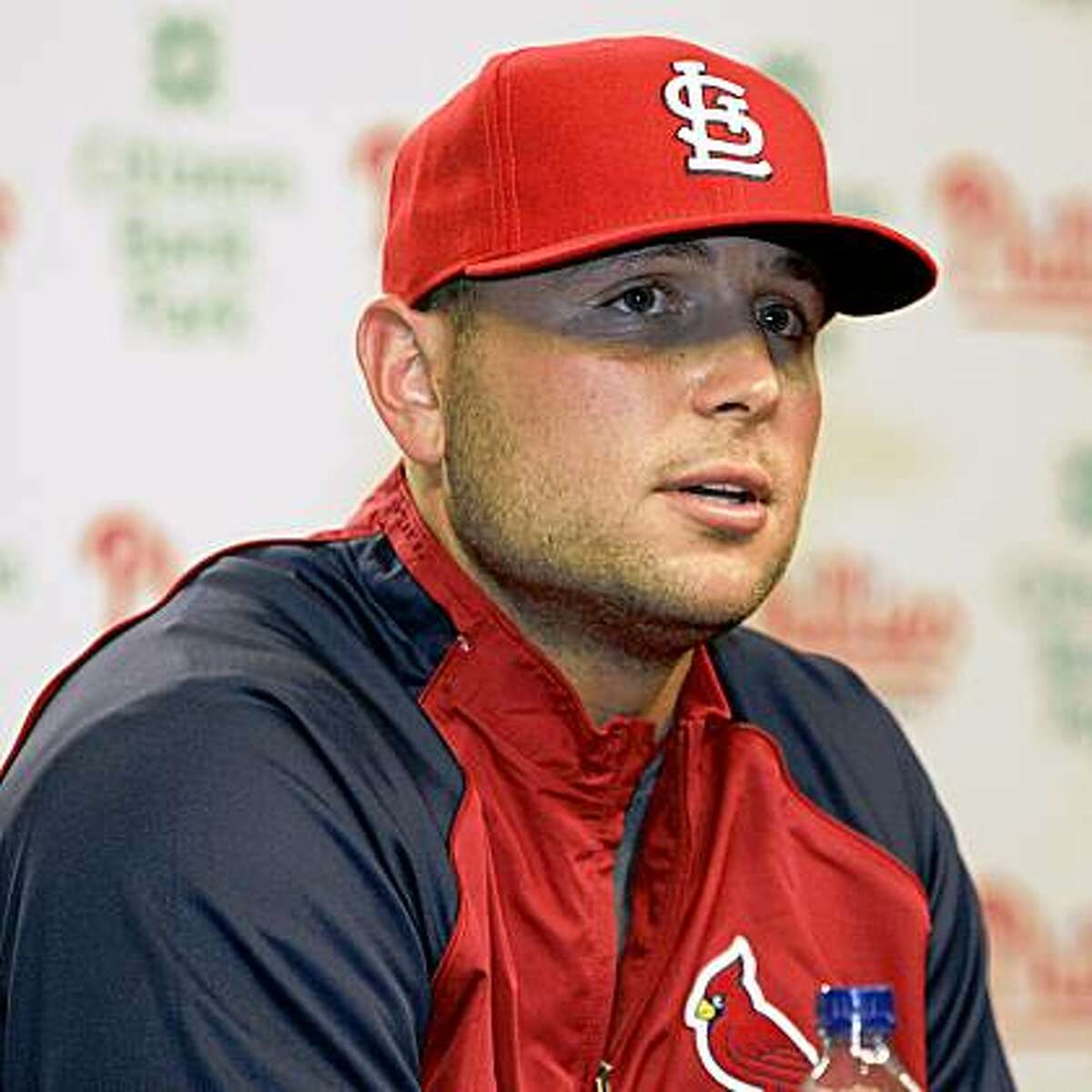 Matt Holliday appears at a news conference Friday, July 24, 2009, in Philadelphia, after it was announced that he had been traded from the Oakland Athletics to the St. Louis Cardinals for a package of prospects. (AP Photo/Tom Mihalek)