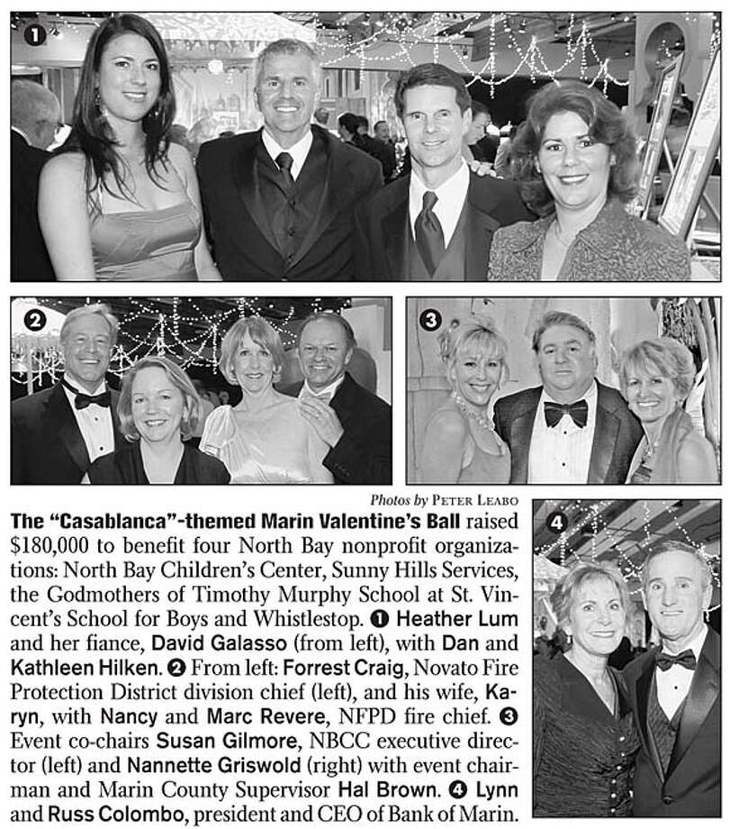 "The ""Casablanca""-themed Marin Valentine's Ball raised $180,000 to benefit four North Bay nonprofit organizations: North Bay Children's Center, Sunny Hills Services, the Godmothers of Timothy Murphy School at St. Vincent's School for Boys and Whistlestop. 1 Heather Lum and her fiance, David Galasso (from left), with Dan and Kathleen Hilken. 2 From left: Forrest Craig, Novato Fire Protection District division chief (left), and his wife, Karyn, with Nancy and Marc Revere, NFPD fire chief. 3 Event co-chairs Susan Gilmore, NBCC executive director (left) and Nannette Griswold (right) with event chairman and Marin County Supervisor Hal Brown. 4 Lynn and Russ Colombo, president and CEO of Bank of Marin. Photos by Peter Leabo"