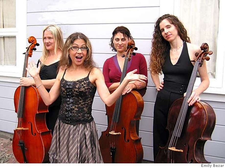 Amy X Neuburg (in glasses and the Cello Chixtet  The chix are:  ---Blonde chick: Beth Vandervennet  ---Tall wavy chick: Elaine Kreston  ---Chick with the eyes: Jess Ivry  ---Other chick: Amy X Neuburg  Ran on: 03-09-2008  Amy X Neuburg (in glasses) and the Cello ChiXtet (from left, Beth Vandervennet, Jess Ivry and Elaine Kreston) will perform Wednesday, Friday and Saturday at Project Artaud Theater.  Ran on: 03-09-2008  Amy X Neuburg (in glasses) and the Cello ChiXtet (from left, Beth Vandervennet, Jess Ivry and Elaine Kreston) will perform Wednesday, Friday and Saturday at Project Artaud Theater. Photo: Emily Bezar