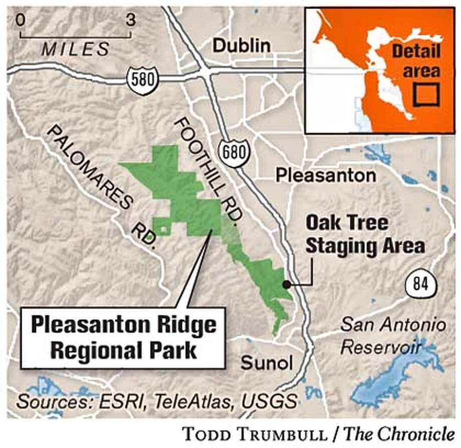 Pleasanton Ridge Regional Park. Chronicle graphic by Todd Trumbull