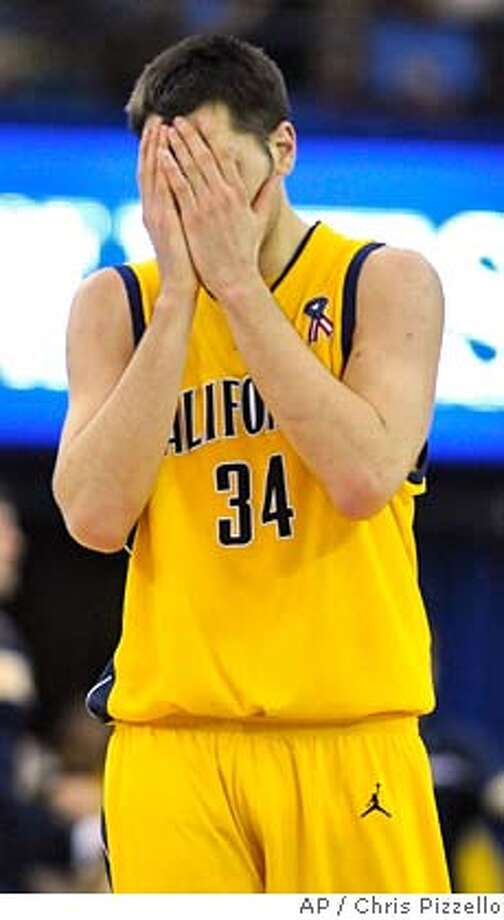 ###Live Caption:California's Ryan Anderson reacts after a turnover in the second half of a basketball game against UCLA in Los Angeles, Saturday, March 8, 2008. UCLA won the game on Josh Shipp's last-second shot, 81-80. (AP Photo/Chris Pizzello)###Caption History:California's Ryan Anderson reacts after a turnover in the second half of a basketball game against UCLA in Los Angeles, Saturday, March 8, 2008. UCLA won the game on Josh Shipp's last-second shot, 81-80. (AP Photo/Chris Pizzello)###Notes:Ryan Anderson###Special Instructions:EFE OUT Photo: Chris Pizzello