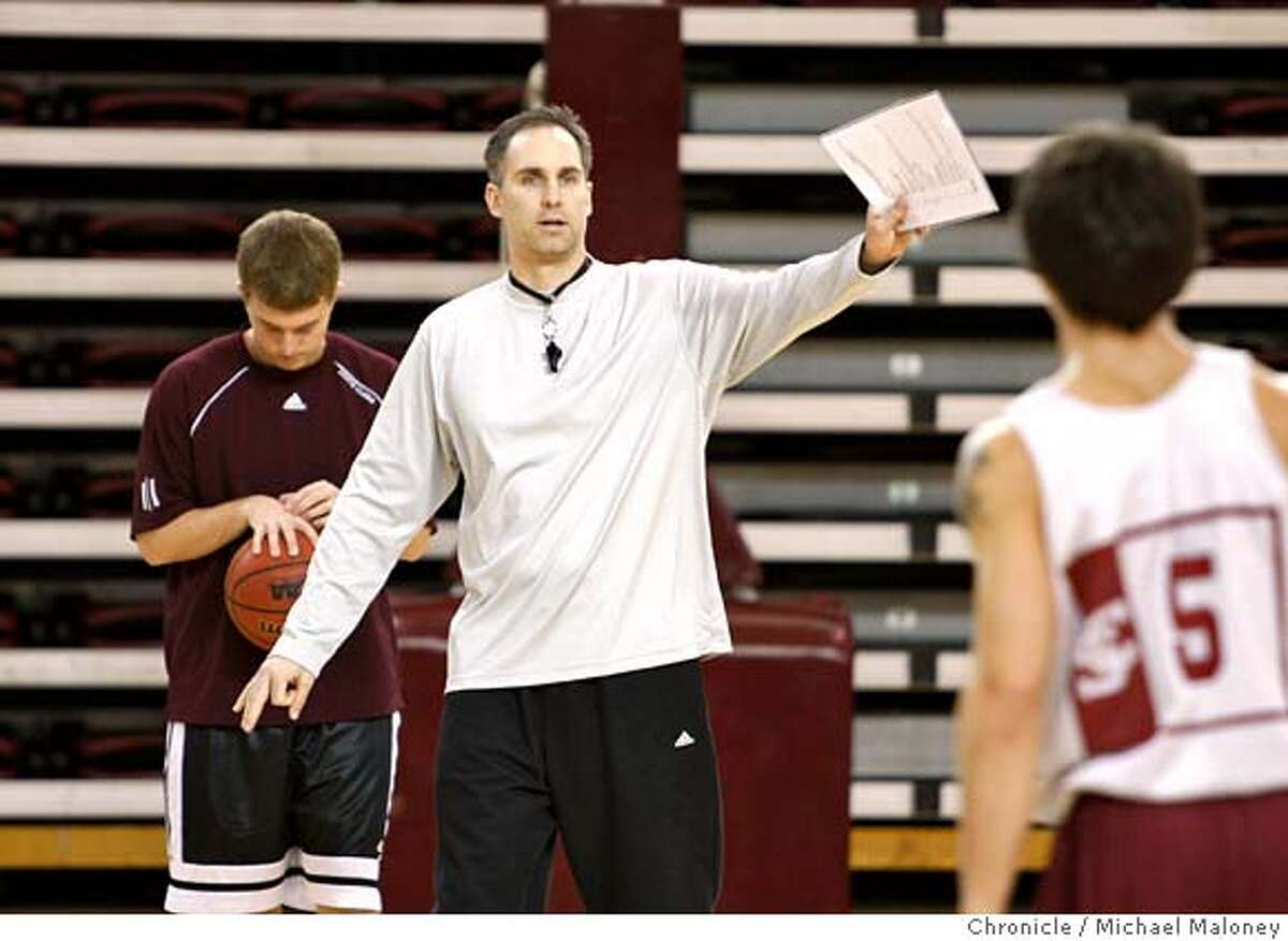 ###Live Caption:Santa Clara University men's basketball coach Kerry Keating leads a practice session with his team at the Leavey Center in Santa Clara, CA on January 30, 2008. At right is Brody Angley. Photo by Michael Maloney / The Chronicle###Caption History:Santa Clara University men's basketball coach Kerry Keating leads a practice session with his team at the Leavey Center in Santa Clara, CA on January 30, 2008. At right is Brody Angley. Photo by Michael Maloney / The Chronicle###Notes:***Kerry Keating###Special Instructions:MANDATORY CREDIT FOR PHOTOG AND SAN FRANCISCO CHRONICLE/NO SALES-MAGS OUT