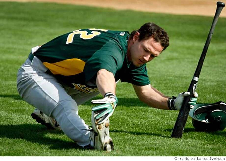 ###Live Caption:Oakland Athletics infielder #22 Jack Hannahan stretches during morning workouts at Papago Park, home of the Oakland Athletics during spring training while in Phoenix. By Lance Iversen/The San Francisco Chronicle###Caption History:Oakland Athletics infielder #22 Jack Hannahan stretches during morning workouts at Papago Park, home of the Oakland Athletics during spring training while in Phoenix.Photographed in Phoenix on 2/20/08. By Lance Iversen/The San Francisco Chronicle###Notes:Iversen 415-297-9395  CQ###Special Instructions:MANDATORY CREDIT PHOTOG AND SAN FRANCISCO CHRONICLE/NO SALES MAGS OUT Photo: Lance Iversen