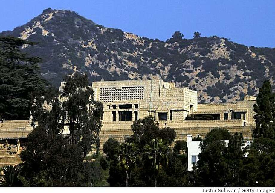 LOS ANGELES, CA - MARCH 7:  The Ennis-Brown House, designed by architect Frank Lloyd Wright in 1924, is pictured on March 7, 2005 in Los Angeles, California. The historic 10,000 square foot home was yellow tagged by the City of Los Angeles after a retaining wall began to fail after recent rain storms in Southern California.   (Photo by Justin Sullivan/Getty Images) Photo: Justin Sullivan, Getty Images
