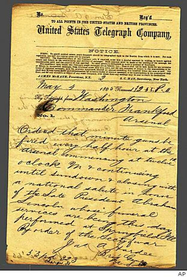** ADVANCE FOR SUNDAY JULY 5 AND THEREAFTER ** This image provided by the National Archives and Records Administration (NARA) shows the May 4, 1865, War Department's announcement of Lincoln's death sent to soldiers, and the tribute to be paid to the late president. This and many other historical items that that the Archives once possessed are missing; some were stolen by researchers or rogue Archives employees; others simply disappeared without a trace.  (AP Photo/U.S National Archives Records Administration) Photo: AP