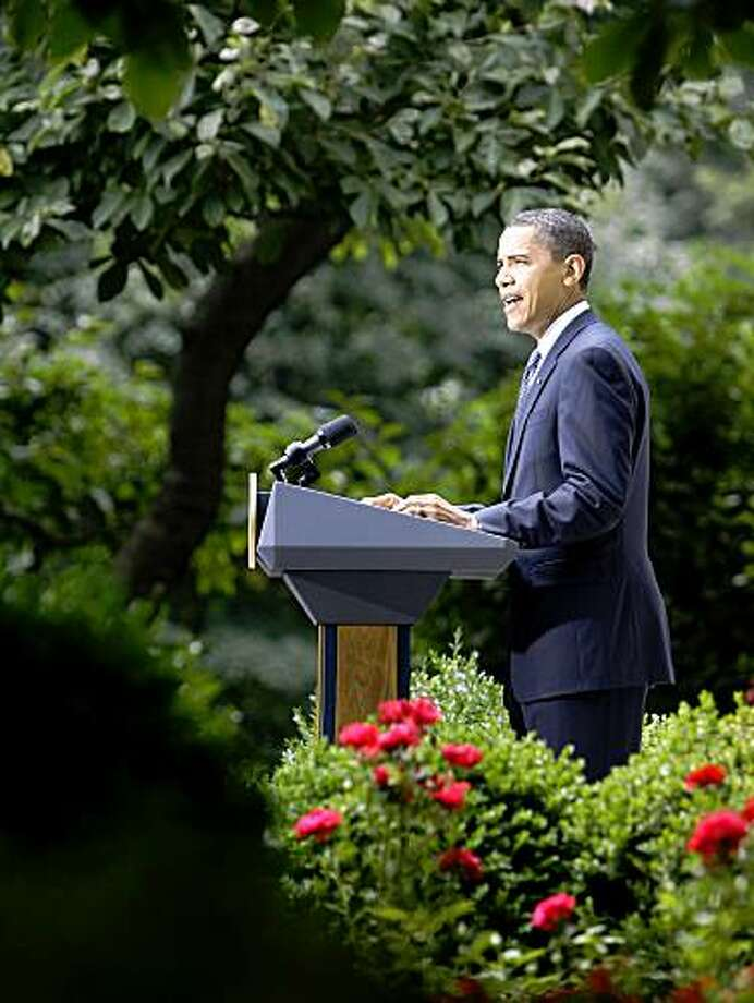 President Barack Obama speaks on health care reform in the Rose Garden of the White House, Tuesday, July 21, 2009, in Washington. (AP Photo/Haraz N. Ghanbari) Photo: Haraz N. Ghanbari, AP