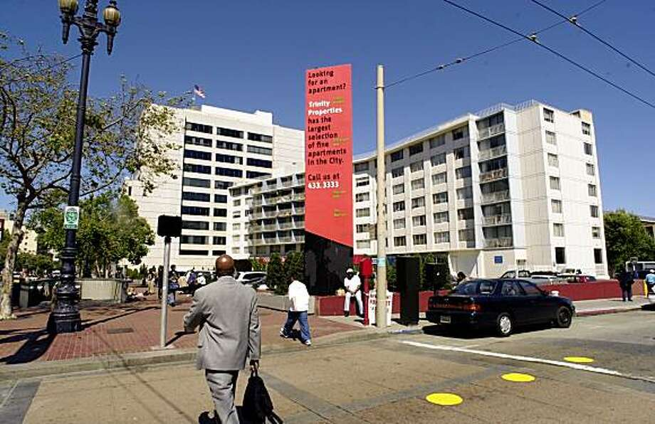 Trinity Plaza apartment complex which now occupies the corner of Market and Eighth Streets, center (not building back left), is proposed to be replaced by a 1400 unit apartment complex.  5/21/03 in San Francisco. Photo: Darryl Bush, The Chronicle