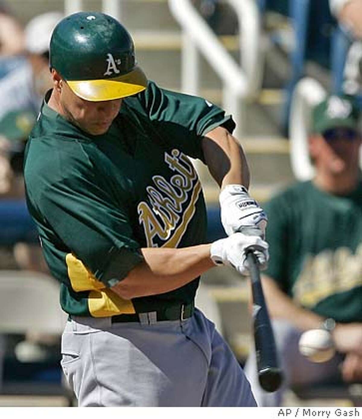 Oakland Athletics' Mark Ellis hits a double during the first inning at a baseball spring training game against the Milwaukee Brewers, Thursday, Feb. 28, 2008, in Phoenix. (AP Photo/Morry Gash)