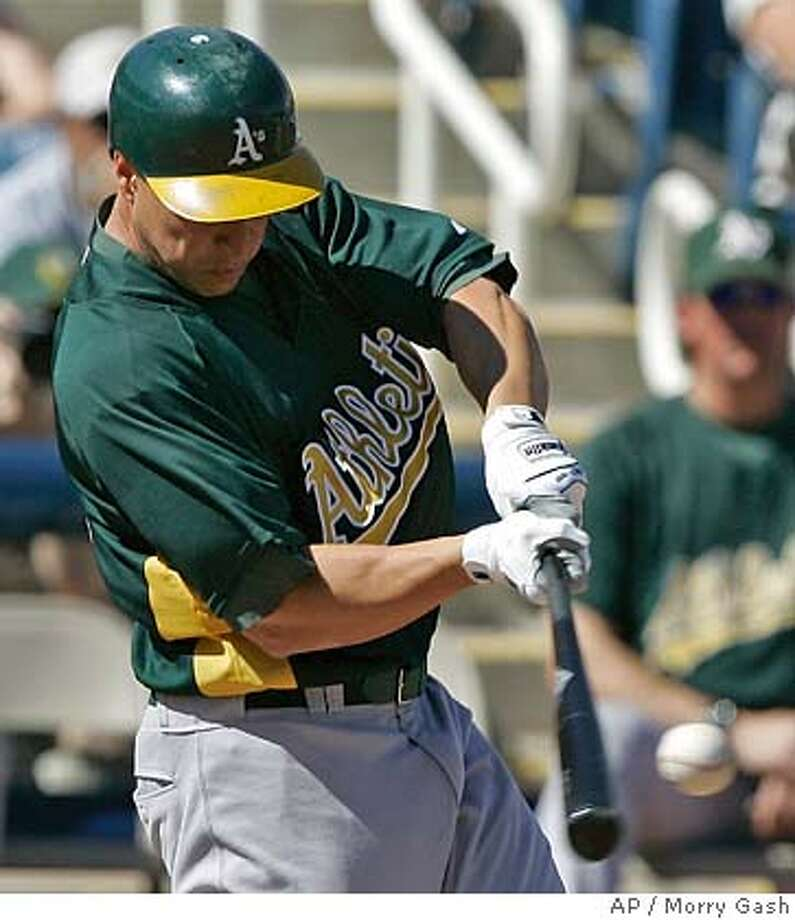 Oakland Athletics' Mark Ellis hits a double during the first inning at a baseball spring training game against the Milwaukee Brewers, Thursday, Feb. 28, 2008, in Phoenix. (AP Photo/Morry Gash) Photo: Morry Gash