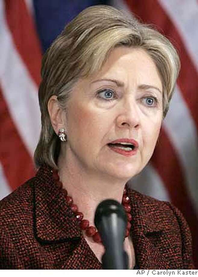 ###Live Caption:Democratic presidential hopeful, Sen. Hillary Rodham Clinton, D-N.Y, speaks during a news conference, Thursday, March 6, 2008, in Washington. (AP Photo/Carolyn Kaster)###Caption History:Democratic presidential hopeful, Sen. Hillary Rodham Clinton, D-N.Y, speaks during a news conference, Thursday, March 6, 2008, in Washington. (AP Photo/Carolyn Kaster)###Notes:Hillary Rodham Clinton###Special Instructions: Photo: Carolyn Kaster