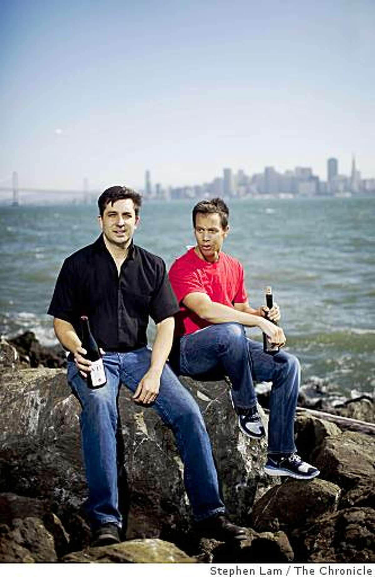 Winemaker Bryan Kane, left, and Assistant Winemaker Todd Seaver, right, of San Francisco's VIE winery poses for a photo near their winemaking facility on in San Francisco's Treasure Island Friday, July 10, 2009.