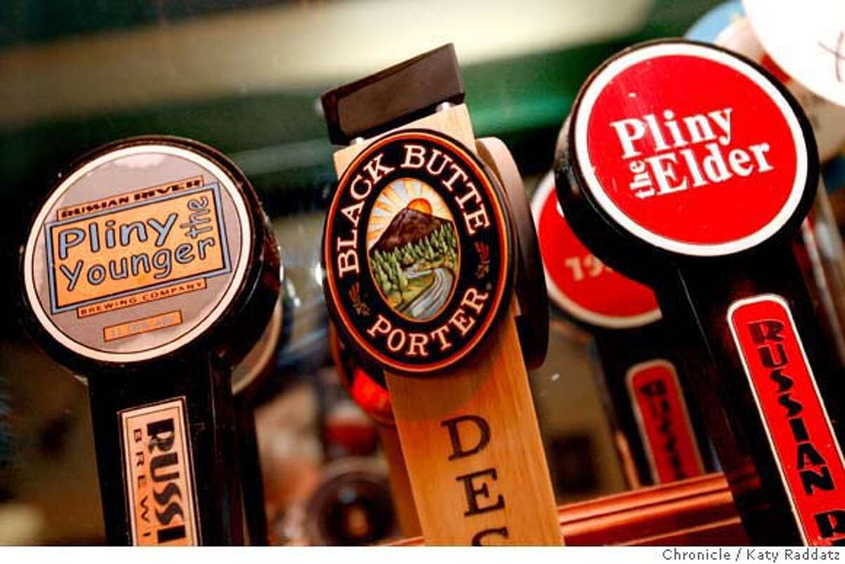 Some of the draft libations available at The Bistro in Hayward, Calif., include Pliny the Younger, Pliny the elder, and Black Butte Porter, on Wednesday, February 20, 2008. Katy Raddatz/THE CHRONICLE