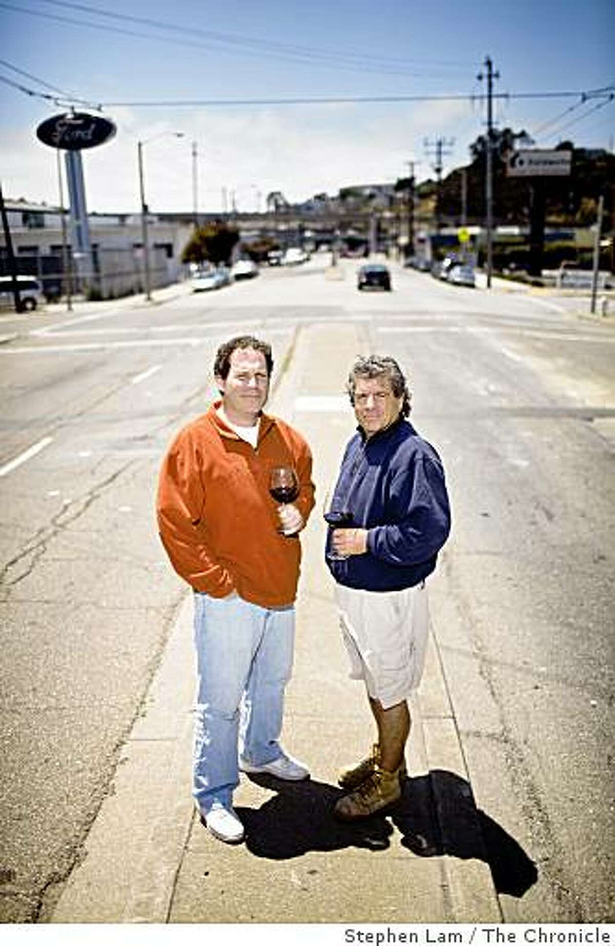 Winemaker Ed Kurtzman, left, of August West Wines and Gary Franscioni of ROAR Wines stands for a portrait outside their winemaking facility in San Francisco's Bayview District Thursday, July 9, 2009.
