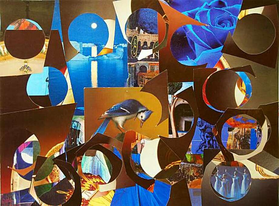 """Work in Blue"" (2009) collage with graphite and acrylic by Matt Bult   15"" x 20"" Photo: Mike Trask Photography, Davis, Paul Thiebaud Gallery"